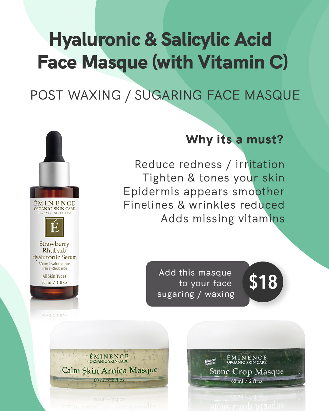 hyaluronic and salicylic acid face masque with vitamin c mask at waxoxo sugaring waxbar